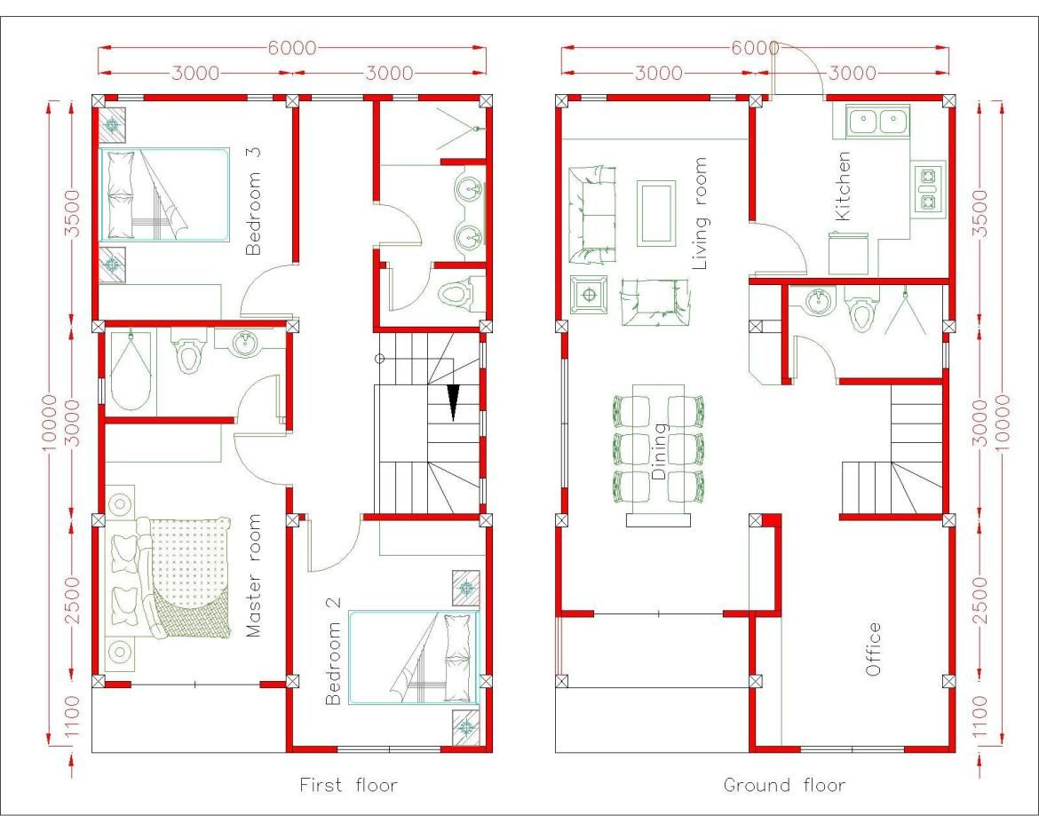 Home Design Plan 6x10m With 3 Bedrooms Samphoas Plansearch Simple House Design Home Design Plan House Layout Plans