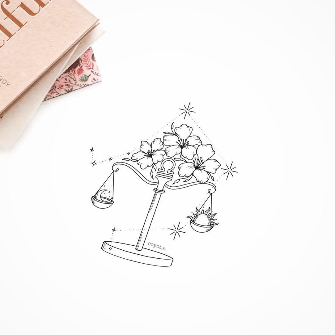 """Photo of Tattoo Designer auf Instagram: """"Einige von Ihnen wünschten sich Tätowierungsdesigns für Sternzeichen und ich fand das eine großartige Idee! Also habe ich mit einem Libra-Design angefangen ? und… """""""