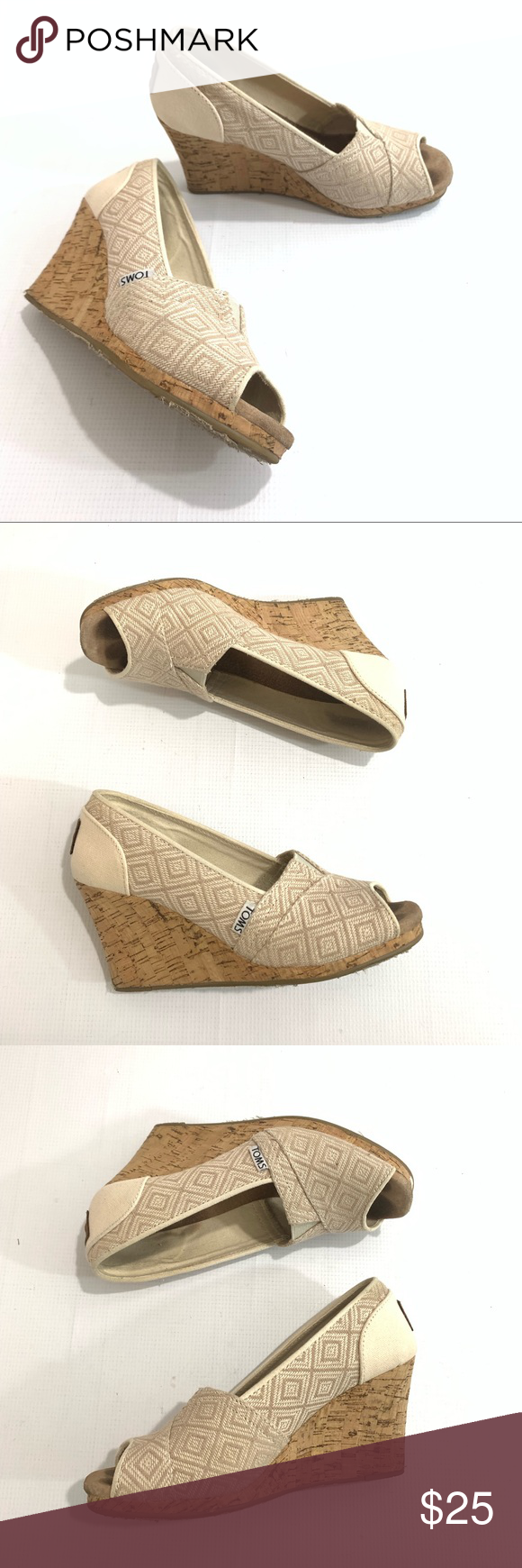 f5ced222dc Toms 381114 Tan Canvas Cork Wedge Sandals Open Toe Toms 381114 Tan Canvas  Cork Wedge Sandals Open Toe Women Sz 6.5 Preowned and gently used.