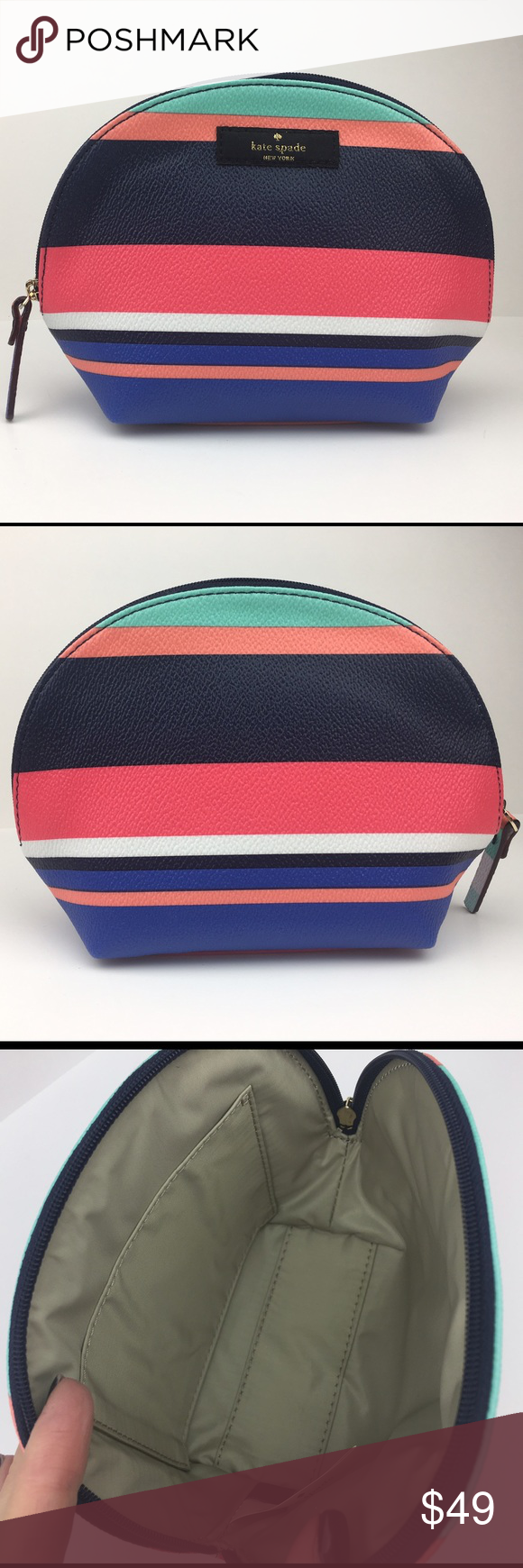 Kate Spade Keri Cosmetic Bag Tropical Stripe NWT Brand new with original  KSNY tags. Ships b9fb4ef01386b