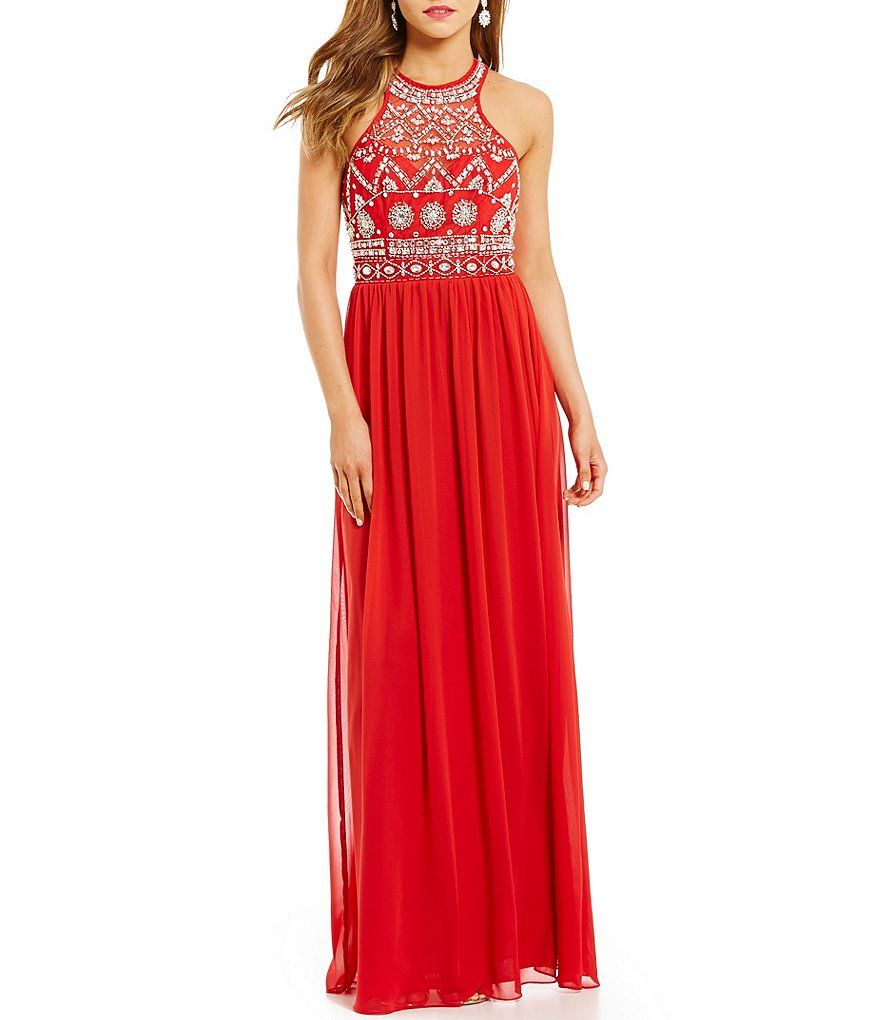 Gb strappy back embellished gown dillards prom pinterest
