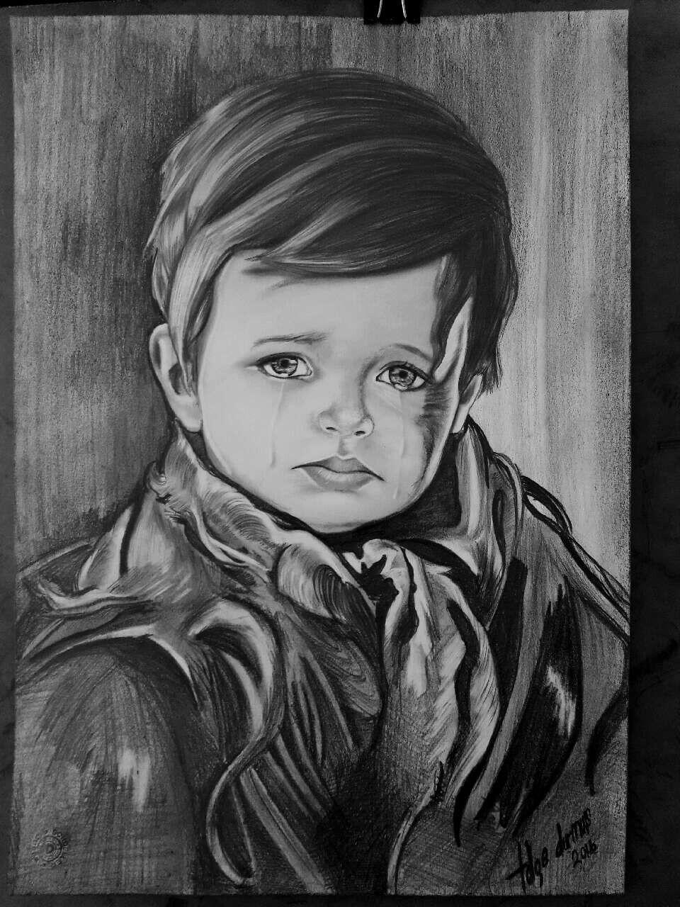 Aglayan Cocuk Karakalem Portre