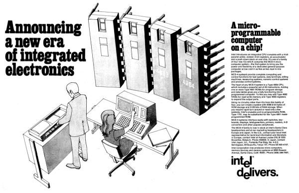The first ad for a microprocessor ran in Electronics News