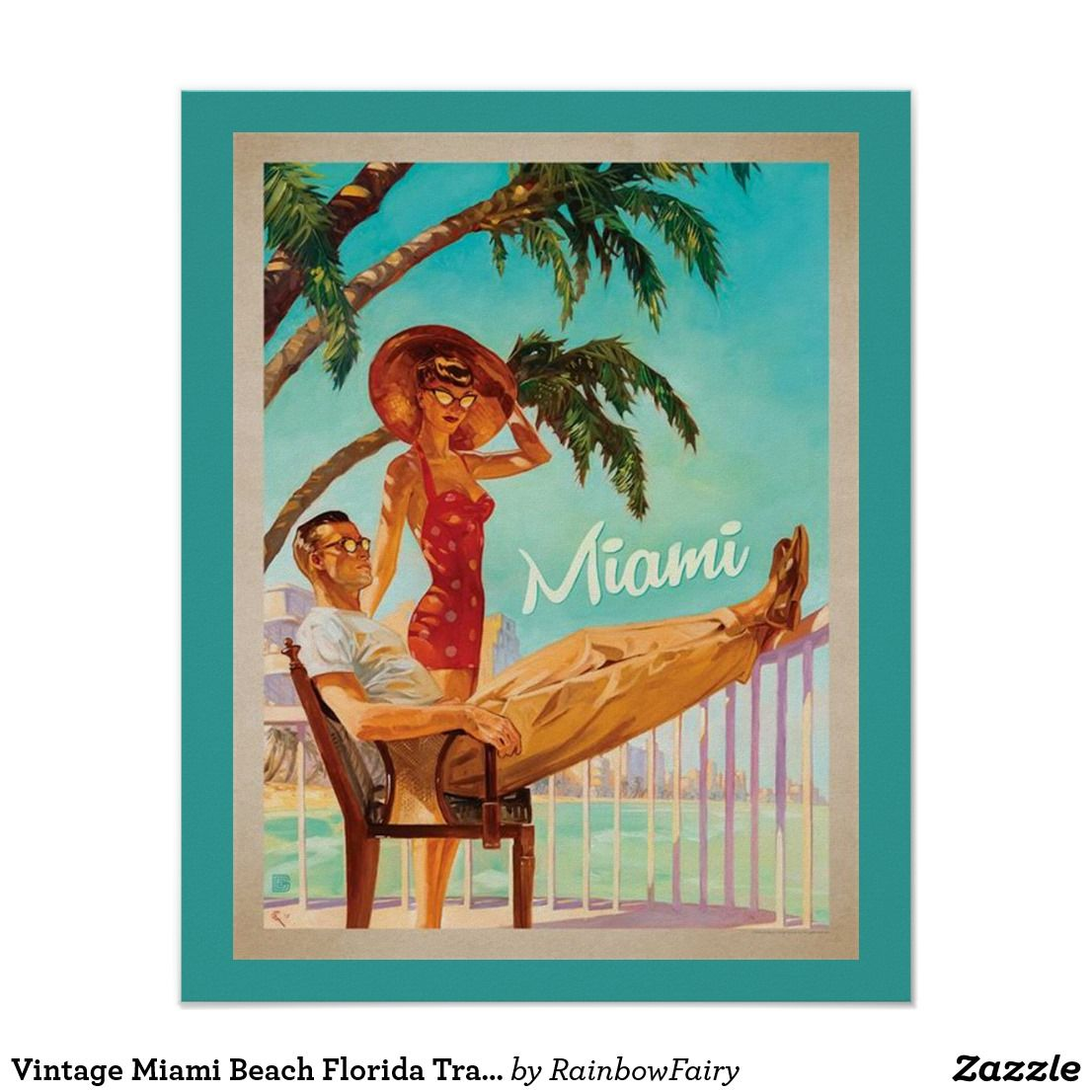 Vintage Miami Beach Florida Travel Poster Vintage Advertisement Postcard Travel Posters