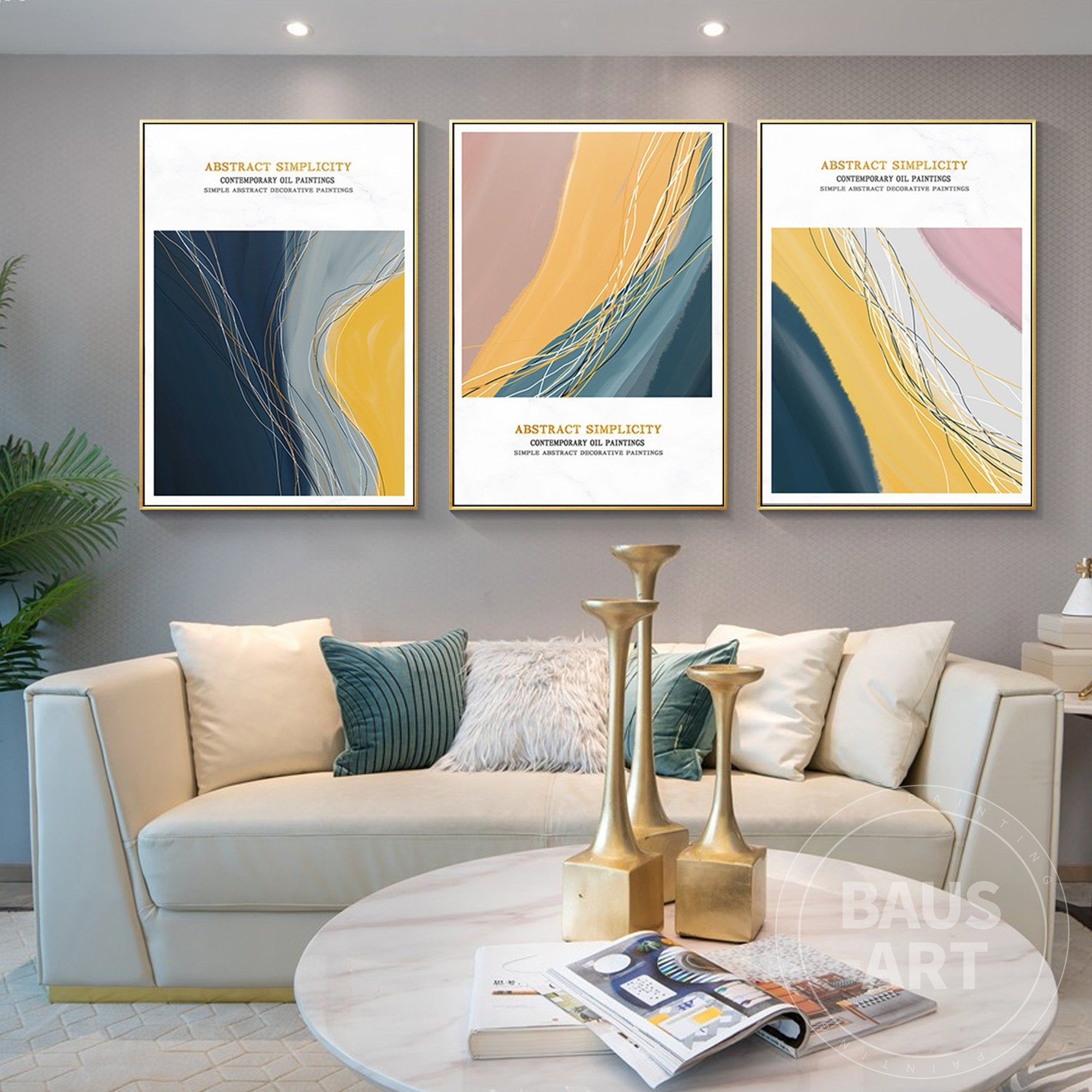 Abstract And Simplicity Group B Print On Canvas Large 3 Piece Etsy Framed Wall Art Sets Framed Prints Frames On Wall