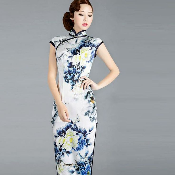 6742473a6 ... sexy modernize Qipao from www.ModernQipao.com. Save 6% by share our  products. Floral blue yellow peony heavy silk qipao mandarin collar  cheongsam dress