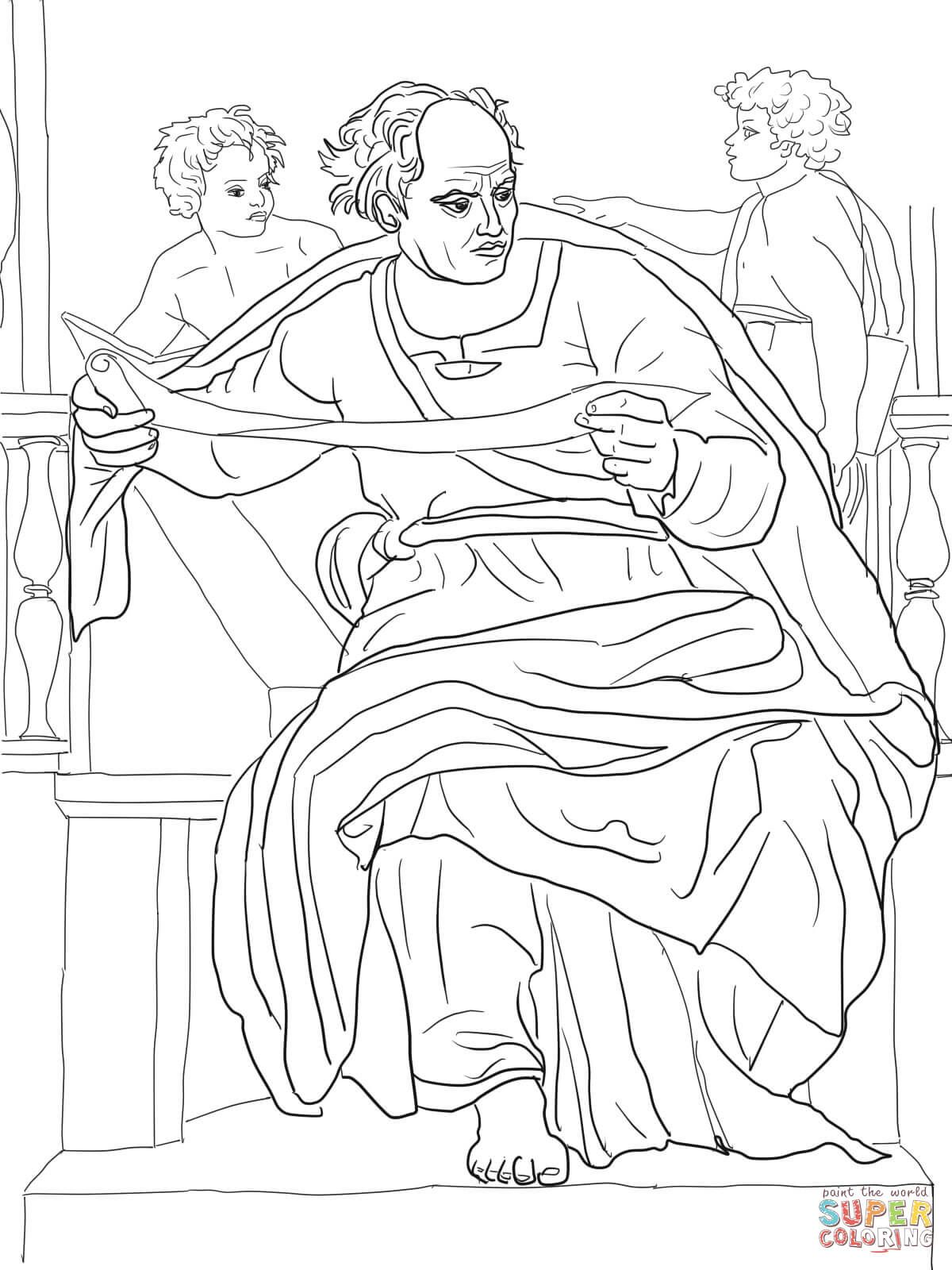 Prophet Joel coloring page from Michelangelo category. Sistine