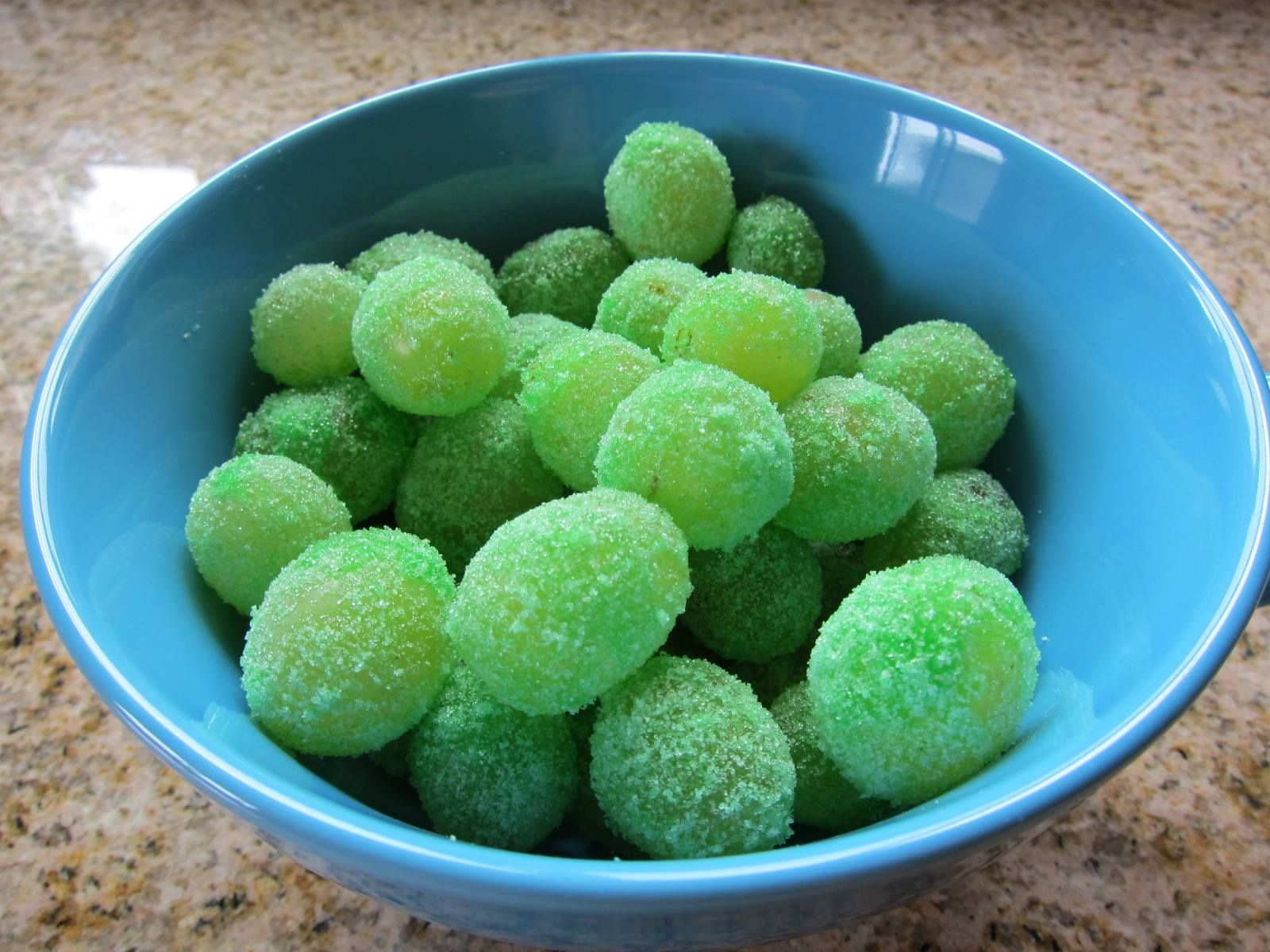 Glitter Grapes (aka Leprechaun Candy)  Wash a bunch of green grapes, while slightly damp roll in Jello, put in fridge or freezer.