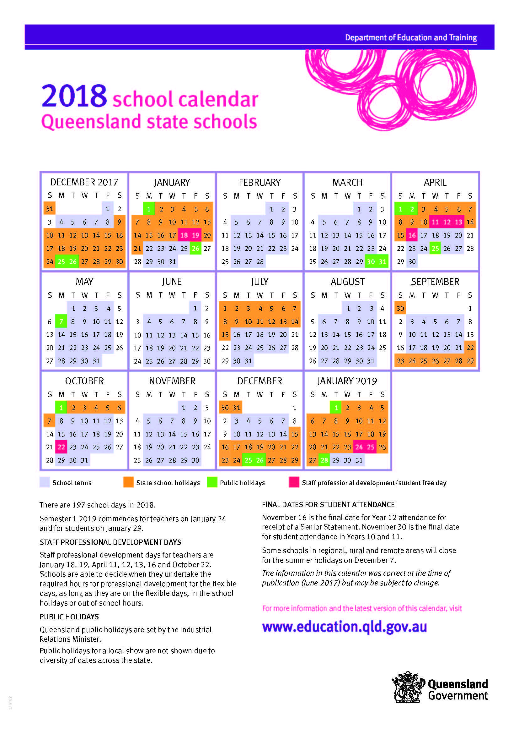 2018 queensland state school calendar