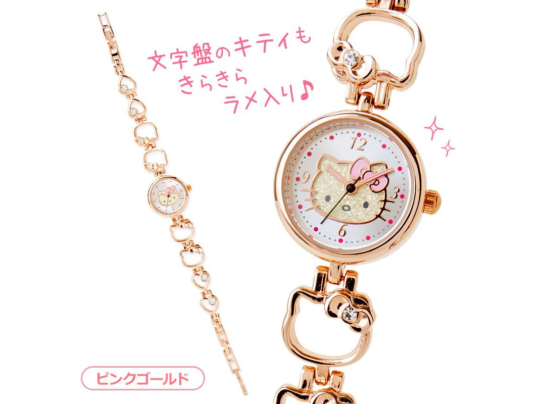 Hello Kitty Face Shaped Bracelet Watch Wristwatch Pink Gold SANRIO ...