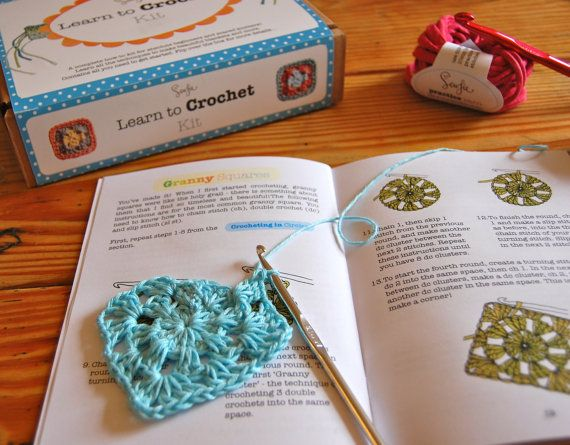 Learn to Crochet Kit for beginners, granny square, fun, easy