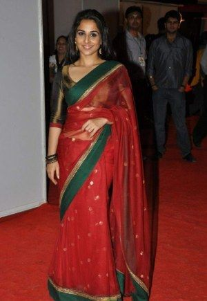 c0d16c93f2ec6e Vidya Balan in a Sabyasachi Chanderi saree. | Saree | Red saree ...