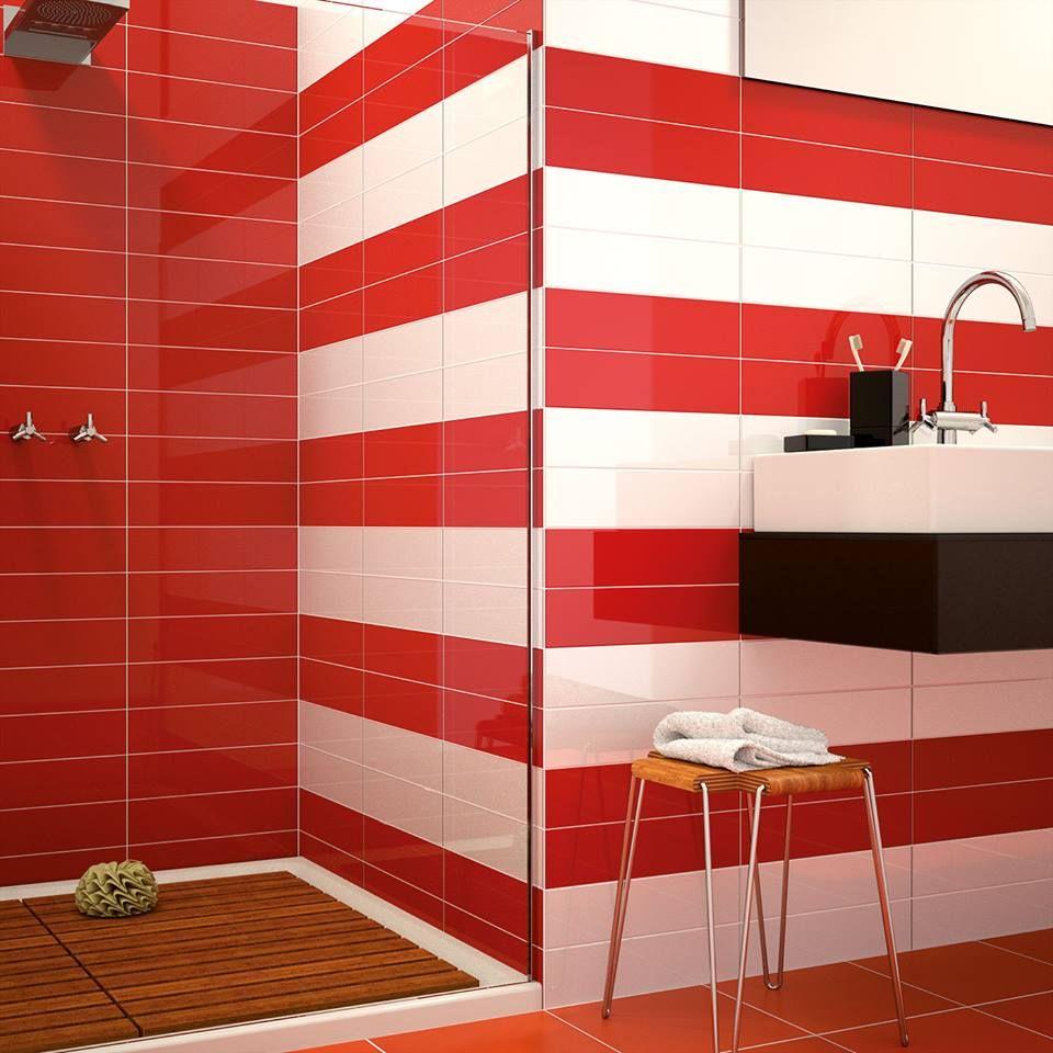 #Azulejos de la colección #ChicColors en rojo y blanco ...
