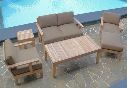 The Natori Collection 6 Piece Grade A Plantation Teak Patio Furniture Deep Seating Set