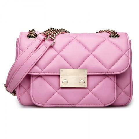 Quilted Genuine Leather Pink Shoulder Bag. Quilted leather shoulder bag design. Three interlayers. Two compartments divided by a center zipper pocket and a small layer pocket for phone and cards. Interior a back-wall zipper pocket. Magnetic snap closure. Size(cm):24.5cm*10cm*16cm