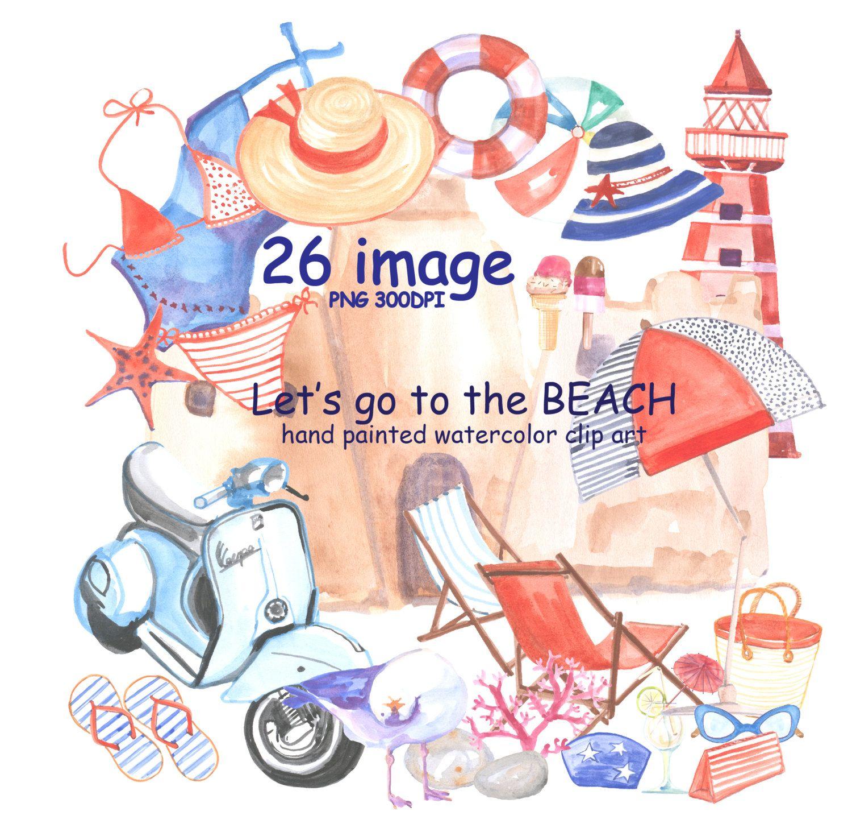 "watercolor sea clipart ""beach clip art""hand painted clipart, Einladungen"