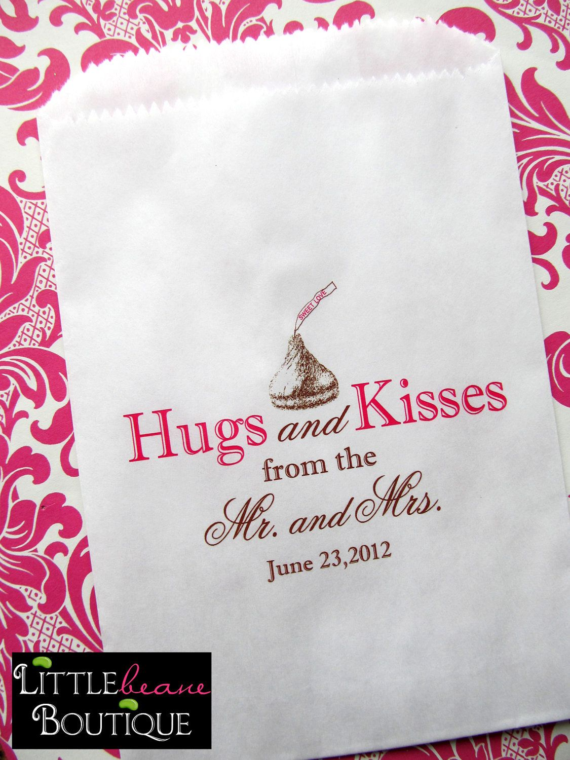 wedding candy bags hugs and kisses from the by littlebeaneboutique rh pinterest com