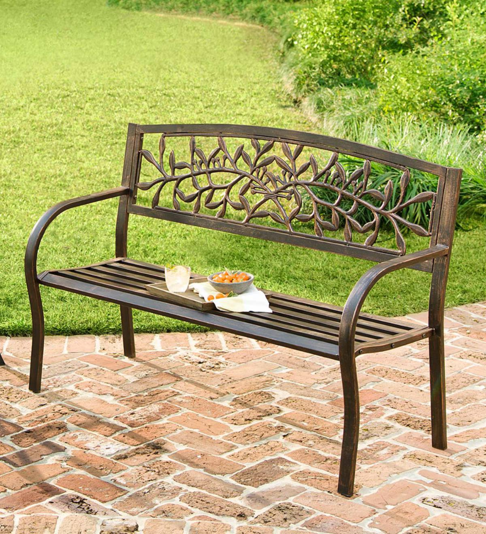 This Iron Tuscany Bench Is Crafted From Iron And Tubular Steel And Features A Classic Italian Olive Bra Outdoor Garden Bench Metal Garden Benches Garden Bench