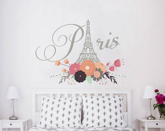 Paris Wall Decals Eiffel Tower Flowers City Theme France ...