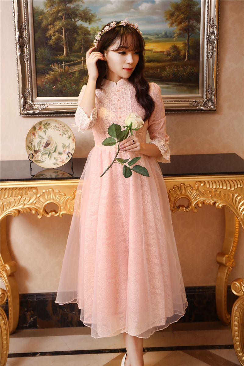 Primavera de rosa do laço do Vintage longo Maxi vestido de manga alargamento império elegante senhora do escritório Vestidos Faldas Vestidos em…