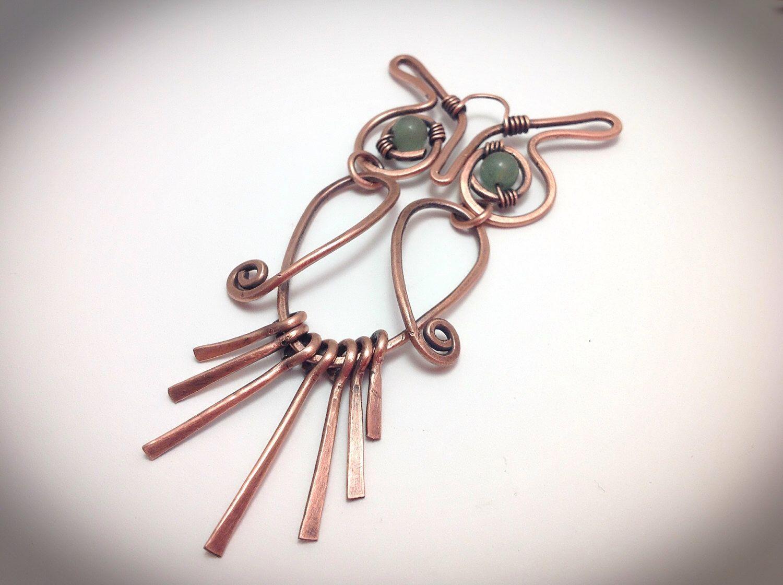 Wirewrapped jewelry. Owl pendant, Copper wire wrapped jewelry. Owl ...