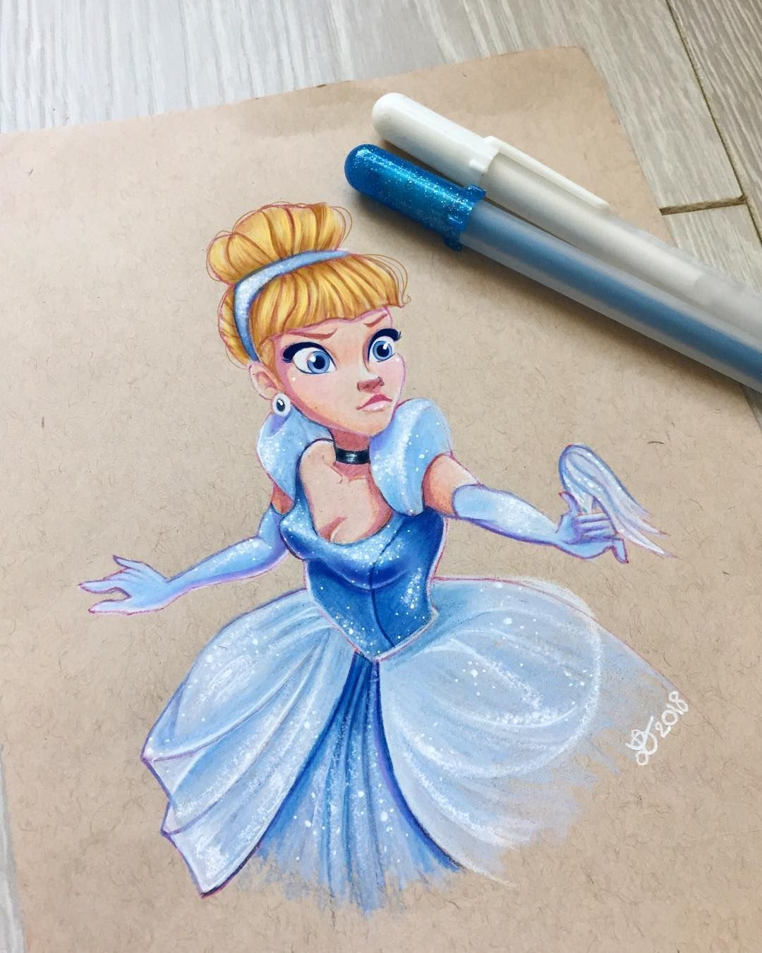 "Laurine � Artist on Instagram: ""Cinderella is done! I loved drawing her. Her face was so expressive and fun. I can't wait to see #wreckitralph I am drawing both Rapunzel…"""