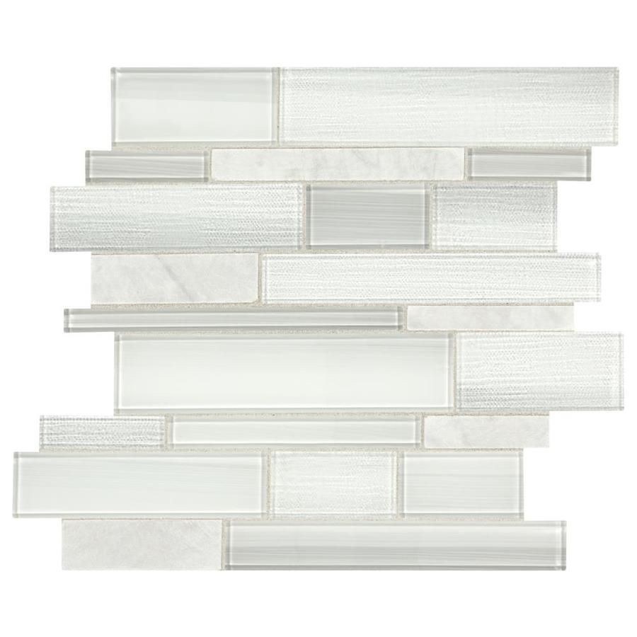 American Olean Cole Point Cloud White 12 In X 14 In Stone And Glass Linear Mosaic Wall Tile