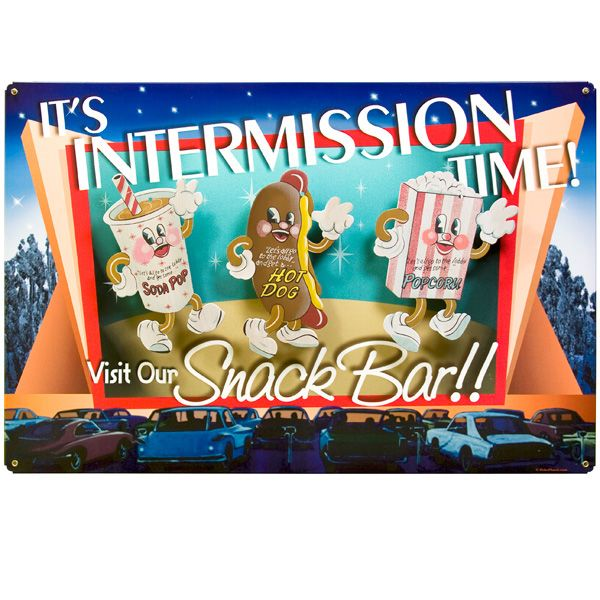 Theater Room Snack Bar: Drive In Intermission Snack Bar Tin Sign For Above