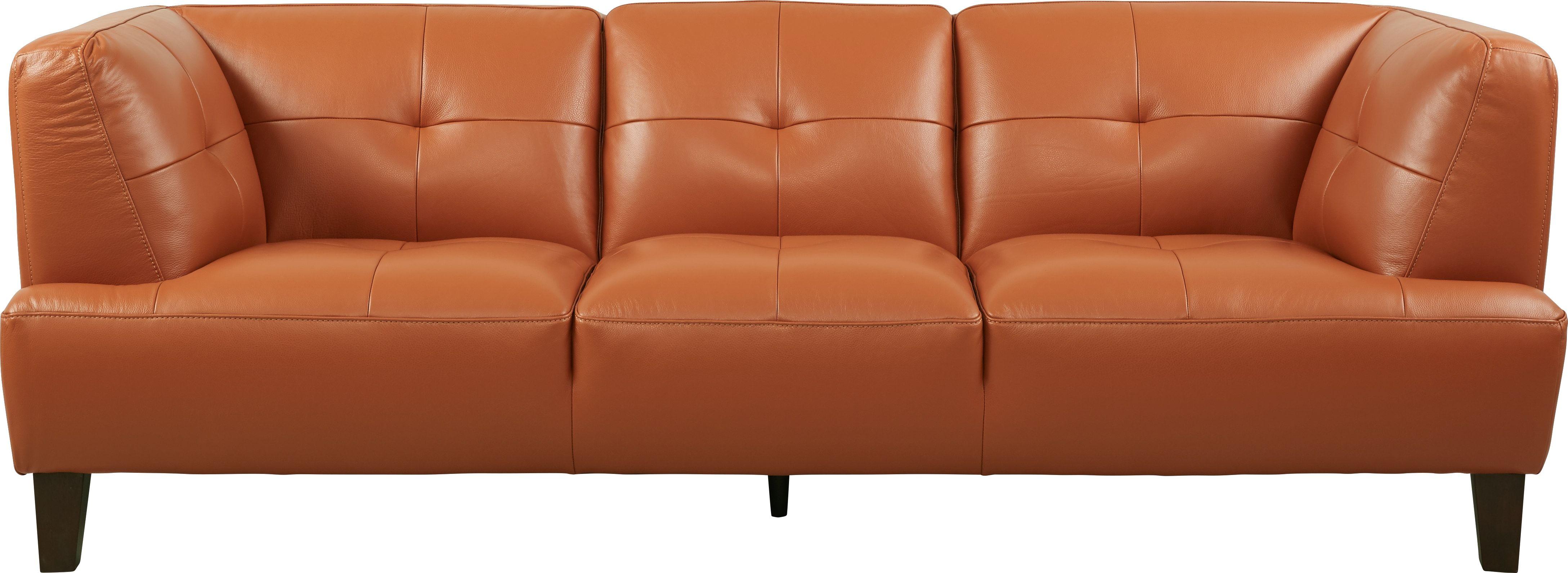 Villa Capri Orange Leather Sofa | home ideas | Orange ...