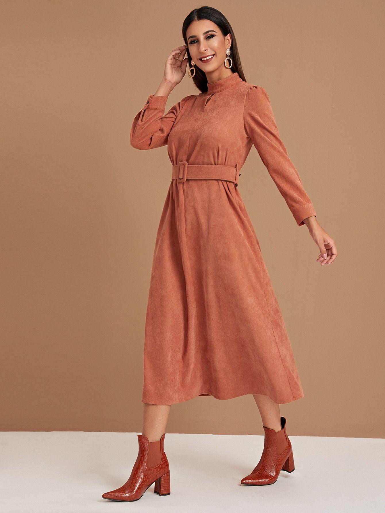 Ad Keyhole Front Self Tie Corduroy Dress Tags Casual Orange Plain Keyholeneckline Long Aline Cutout Belte Necklines For Dresses Dresses Corduroy Dress [ 1785 x 1340 Pixel ]