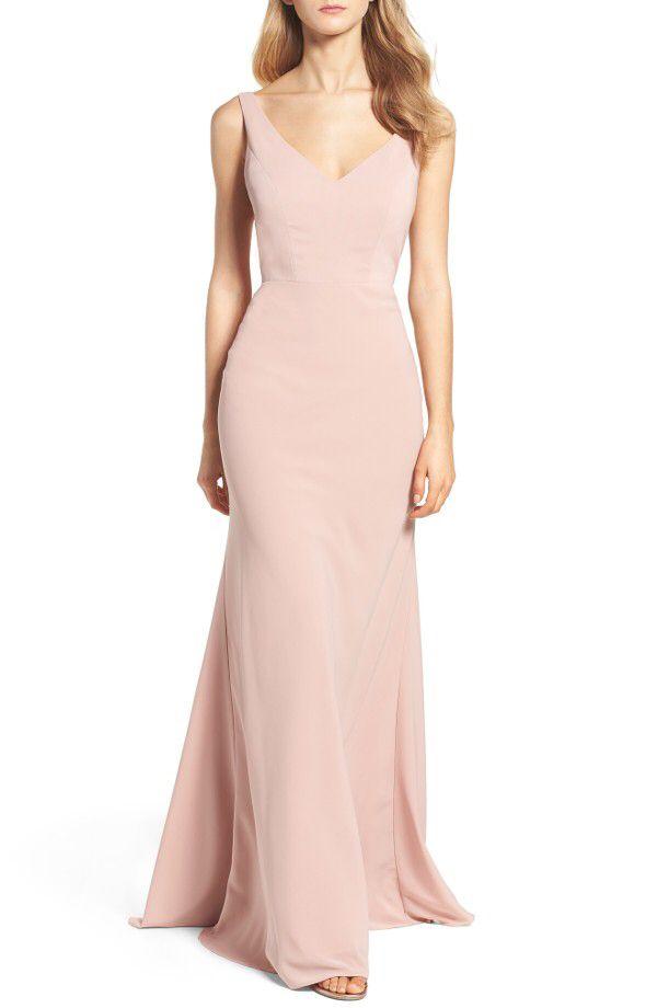 Jenny Yoo Jenny Yoo Delaney Tie Back V-Neck Gown available at ...