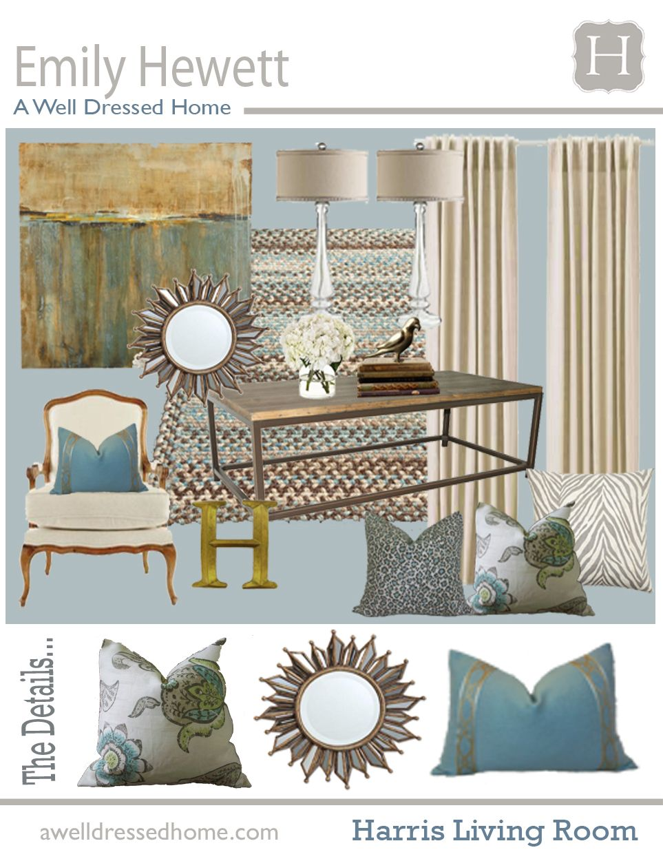 Decorate A Room Online: Harris Living Room Online Design Board By Emily Hewett Of
