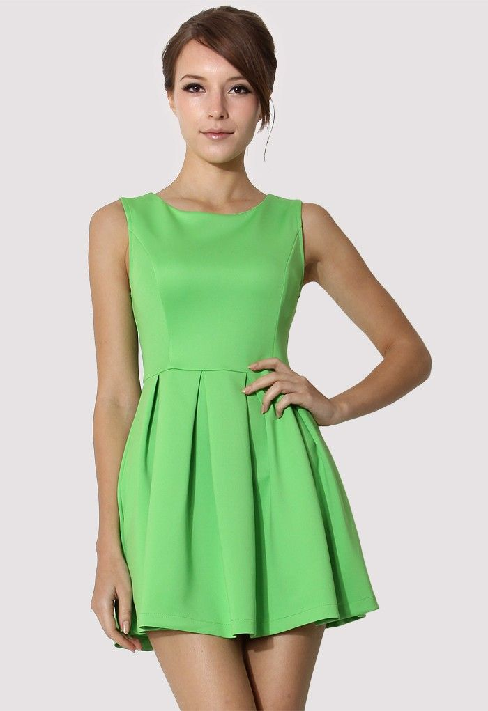 c3d4ec6d54fc chicwish Neon Green Sleeveless Pleated Skater Dress