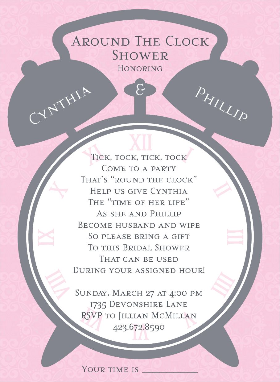 Alarm Clock Pink Around the Clock Shower Invitations | Alarm clocks ...