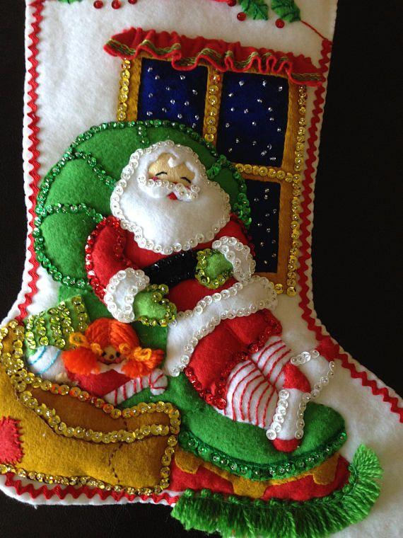 Bucilla felt stocking complete finished & lined | Pinterest ...