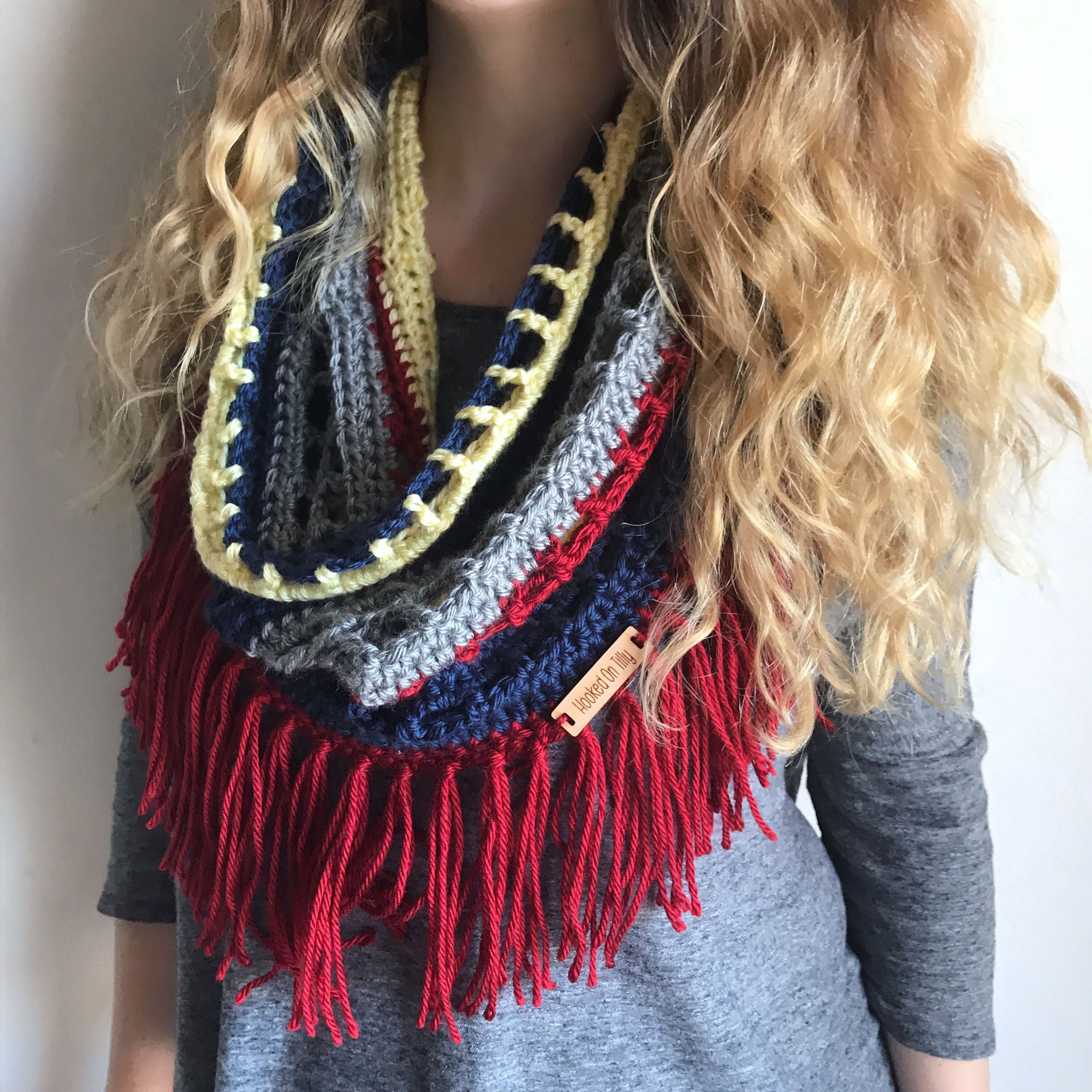 Fringe Scarf Crochet Lace Scarf, Infinity Scarf Red, Yellow Scarf ...