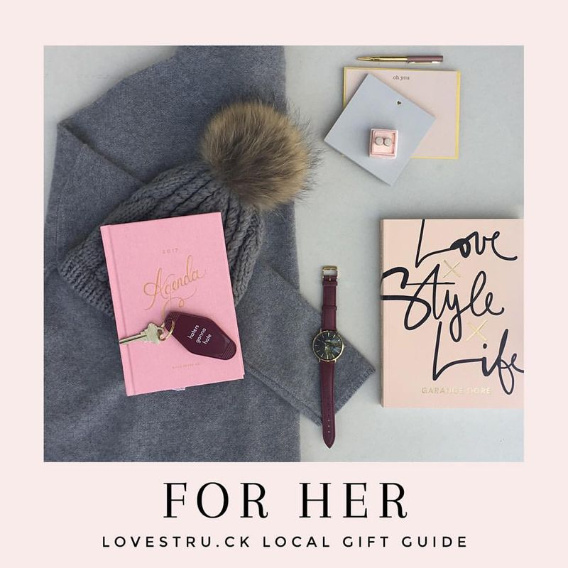 "Lovestru.ck Holiday Gift Guide FOR Her @shopthefold: cashmere sweater, watch / @earthenjoy: circle stud earrings / @inclosed: ""oh you"" card and heart charm pad / @themixshoes: knit hat / @paperkiteshop: agenda, key chain, book"