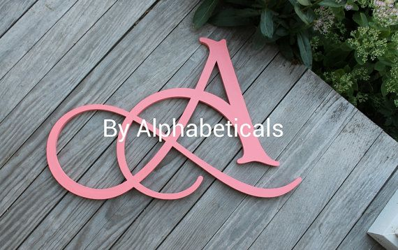 Initial Monogram Initials Wall Letters Wooden Letters Script Hanging
