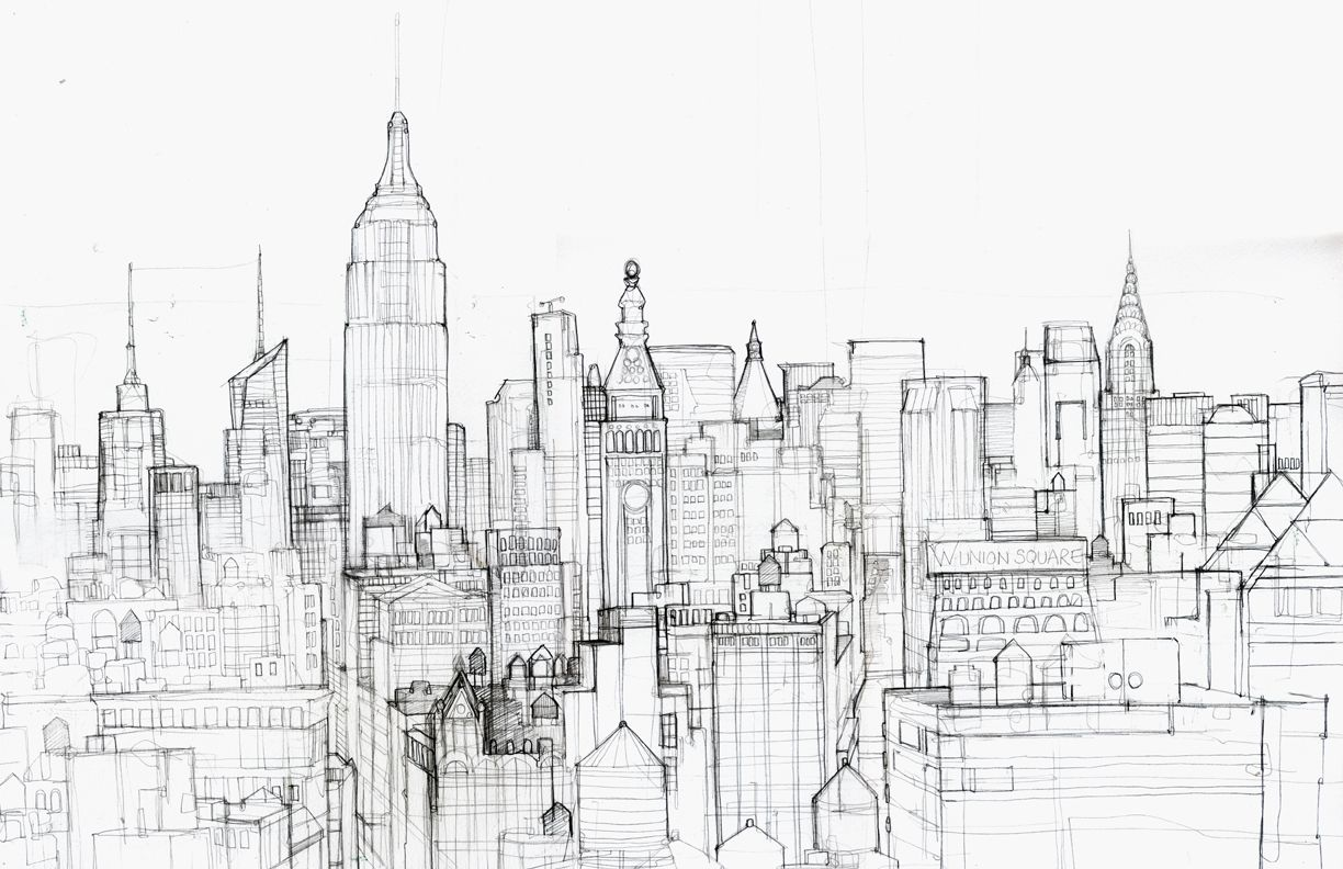 Line Drawing New York City Skyline : New york city skyline pencil drawing sketch coloring page