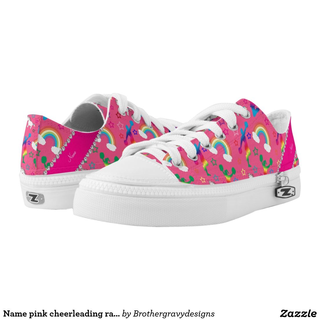 Name pink cheerleading rainbow unicorns stars Low-Top sneakers