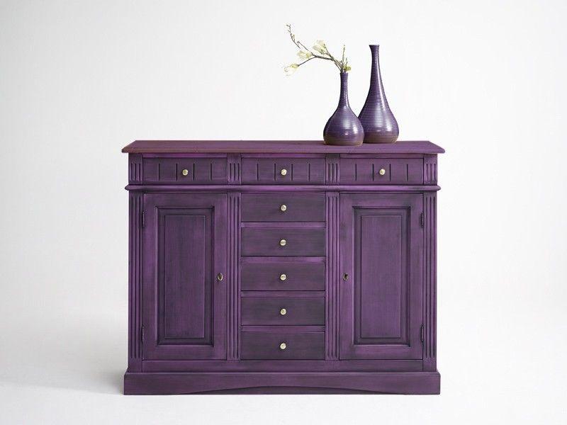 Gradel Lara Highboard Fichte massiv violett lackiert barock - Möbel