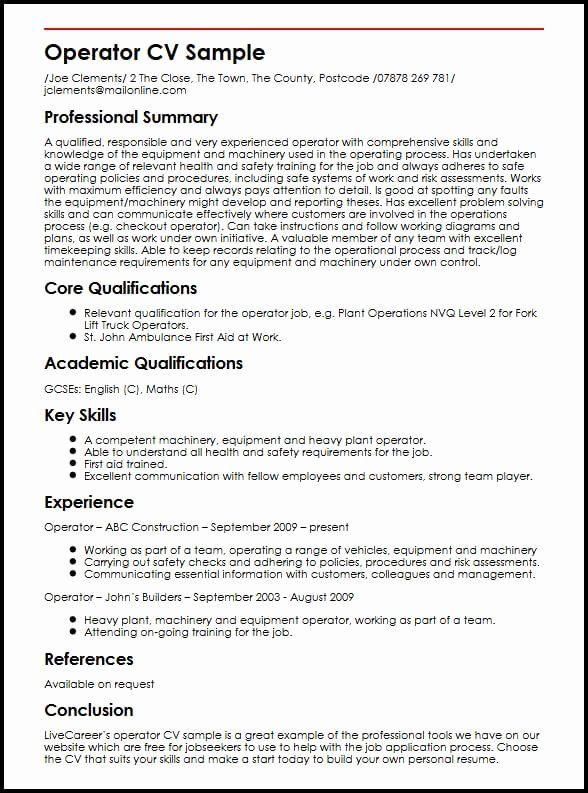 Machine Operator Resume Example Beautiful Operator Cv Sample In 2020 Resume Examples Good Resume Examples Cv Template