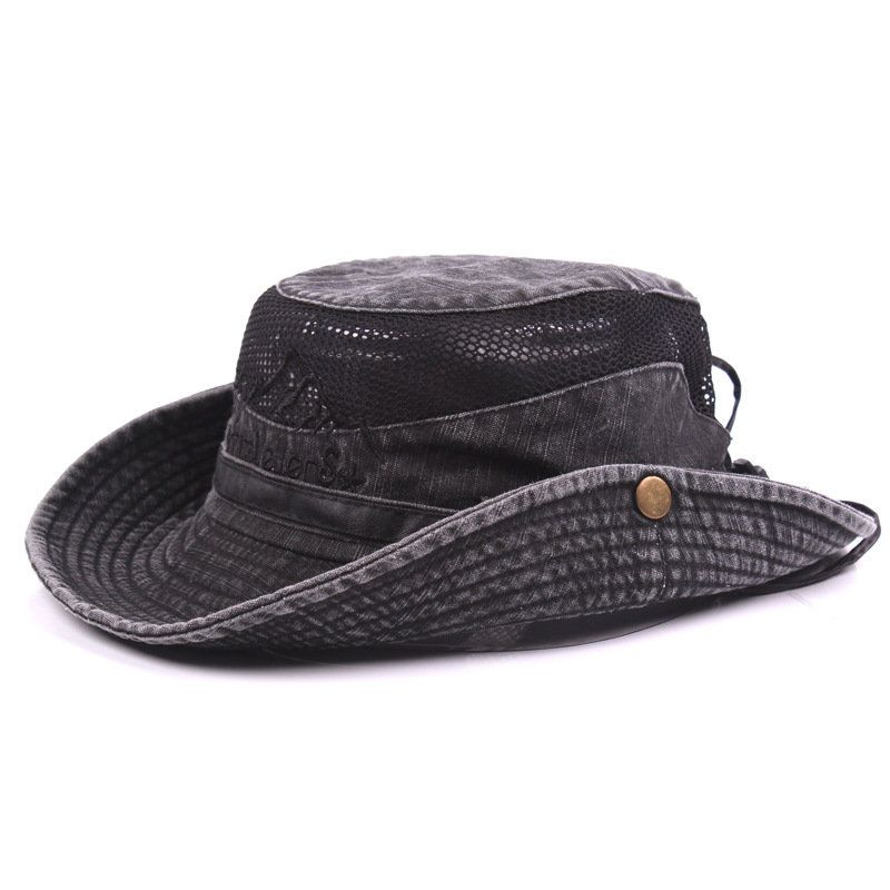 fb39875a648db Mens Summer Cotton Embroidery Visor Bucket Hats Fisherman Hat Outdoor  Climbing Mesh Sunshade Cap