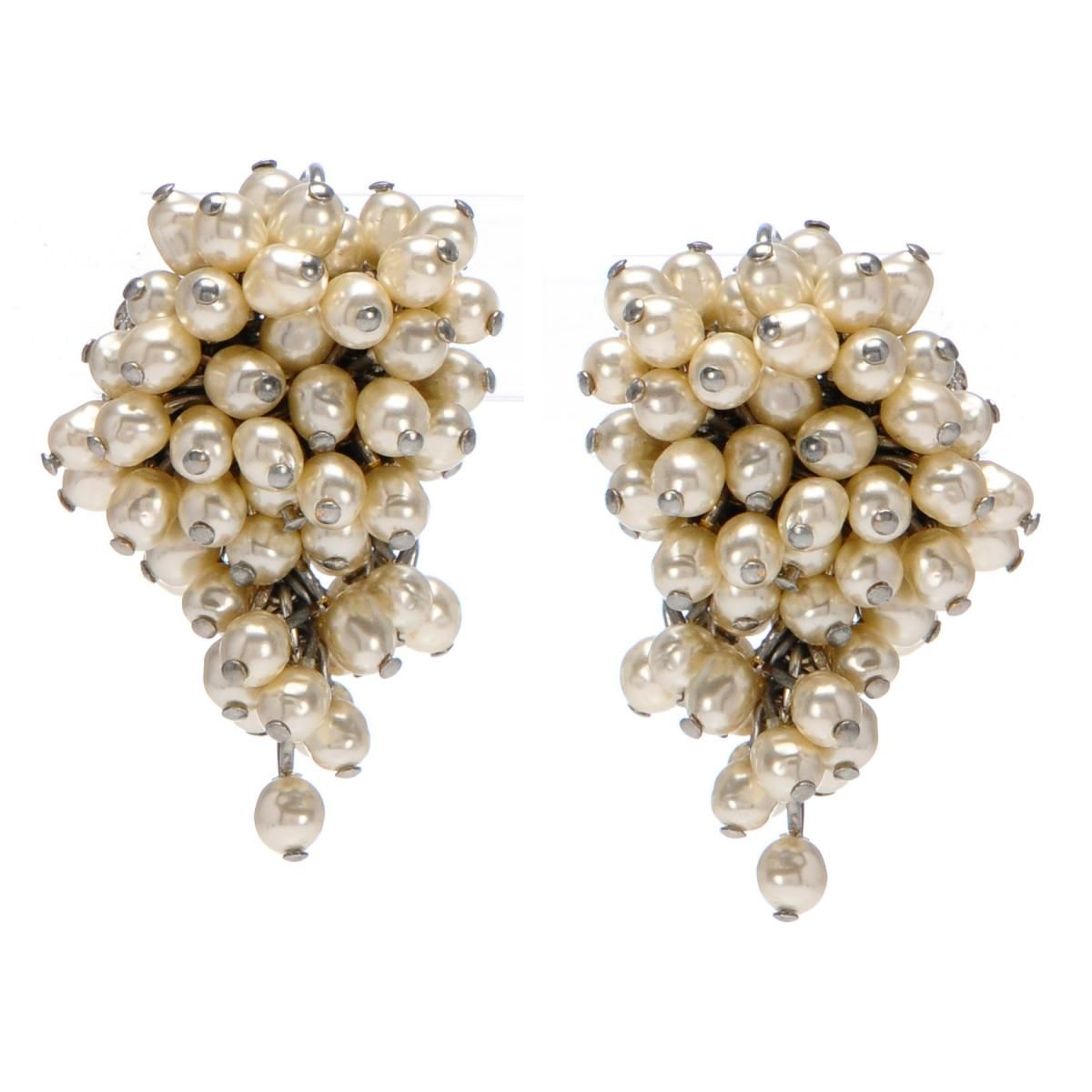 Miriam Haskell  Cluster Of Pearls Earrings