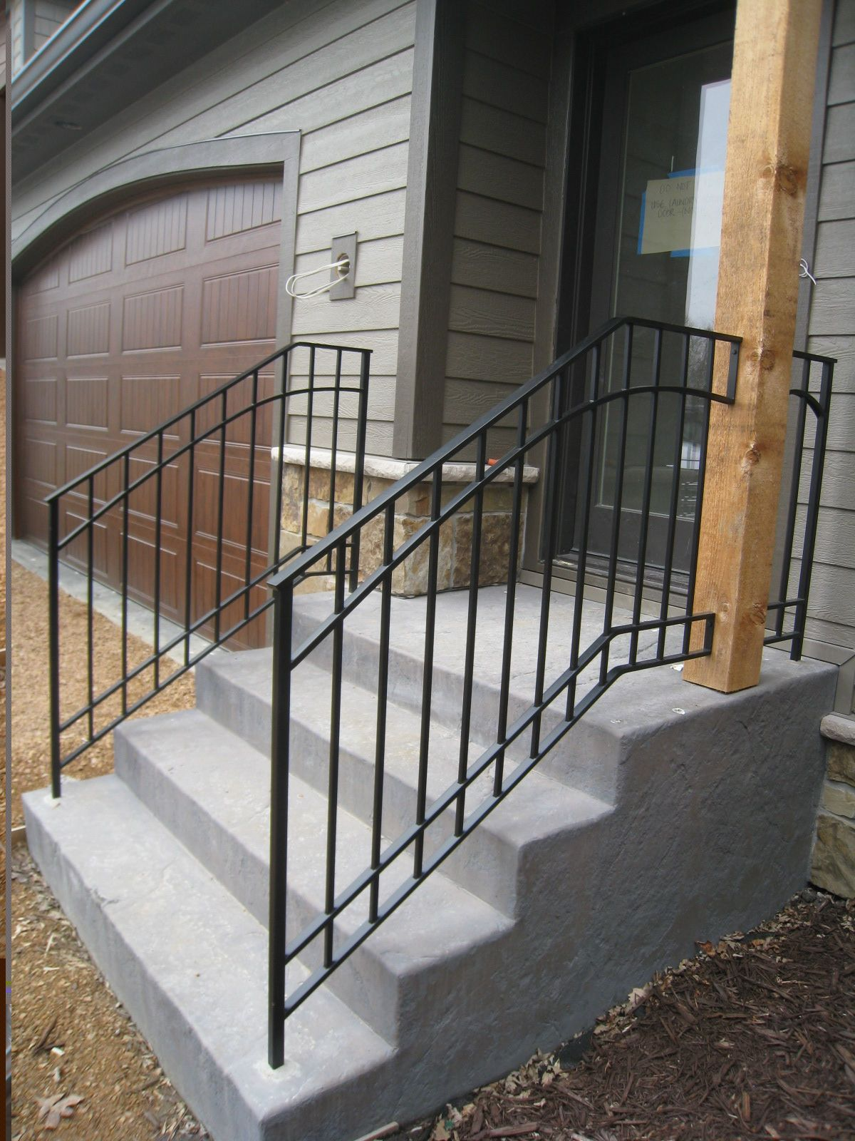 Exterior step railings o 39 brien ornamental iron show my for Front balcony railing