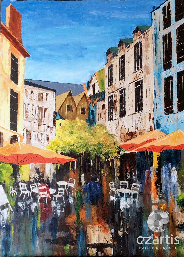 Ozartis La Rochelle Peinture Acrylique Rue Au Couteau Copie De