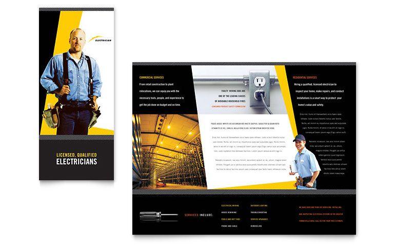 Electrician - Brochure Template Design Bold Brochures - microsoft brochure templates free download