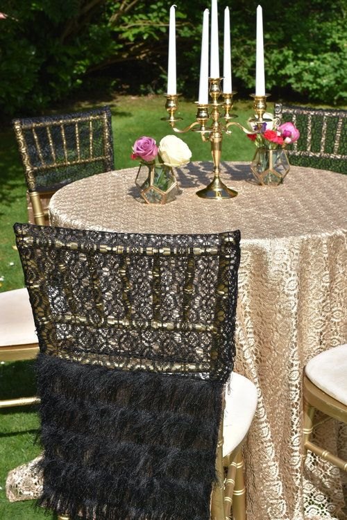 Great Gatsby inspired table and chair linen. Gold lace