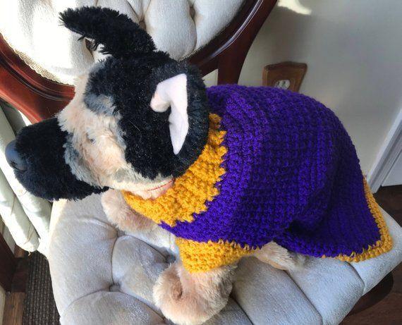 Purple and Gold Medium Dog Crochet Sweater #dogcrochetedsweaters Purple and Gold Medium Dog Crochet Sweater #dogcrochetedsweaters