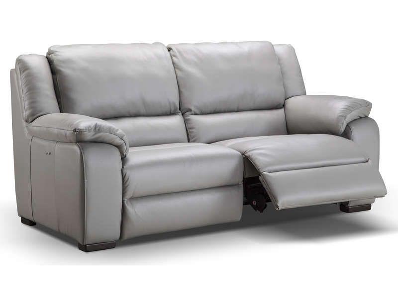 Canape Fixe Relaxation Electrique 3 Places En Cuir Saturday Coloris Gris Vente De Canape Droit Conforama Canape Droit Canape Fixe Canape